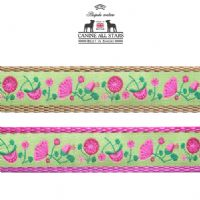 DOG LEAD - PINK AND FUSCIA FLOWER MEADOW ON APPLE GREEN